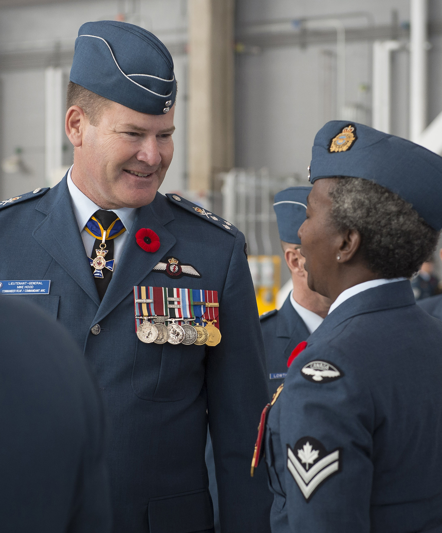 "A photo montage. Left: A man and woman in similar blue uniforms talk. Right, a gold badge, with a red bison on green grass, is topped with a crown. The badge reads ""Fortunae nihil"", ""429 Squadron"" and Escadron 429."