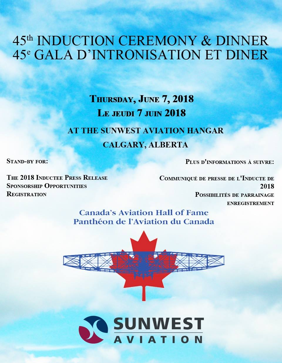 Canada's Aviation Hall of Fame will induct four new members in 2018 at the 45th Induction Ceremony and Dinner to be held on Thursday, June 7, 2018, in the Sunwest Aviation hangar at the Calgary International Airport. IMAGE: CAHF