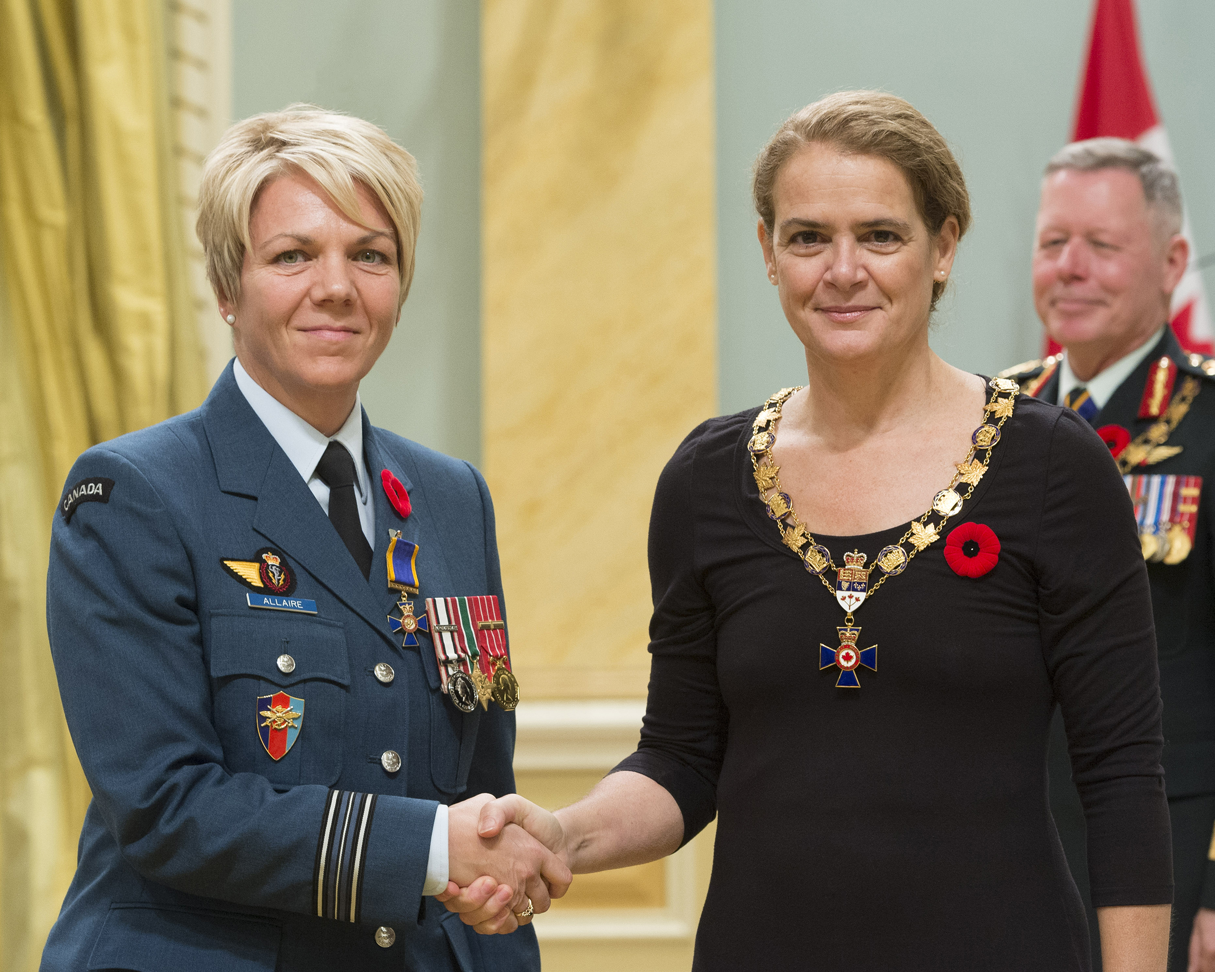 Governor General and Commander-in-Chief of Canada Julie Payette inducts Major Marie Josée Brigitte Allaire, Canadian Forces School of Communications and Electronics, Kingston, Ontario,
