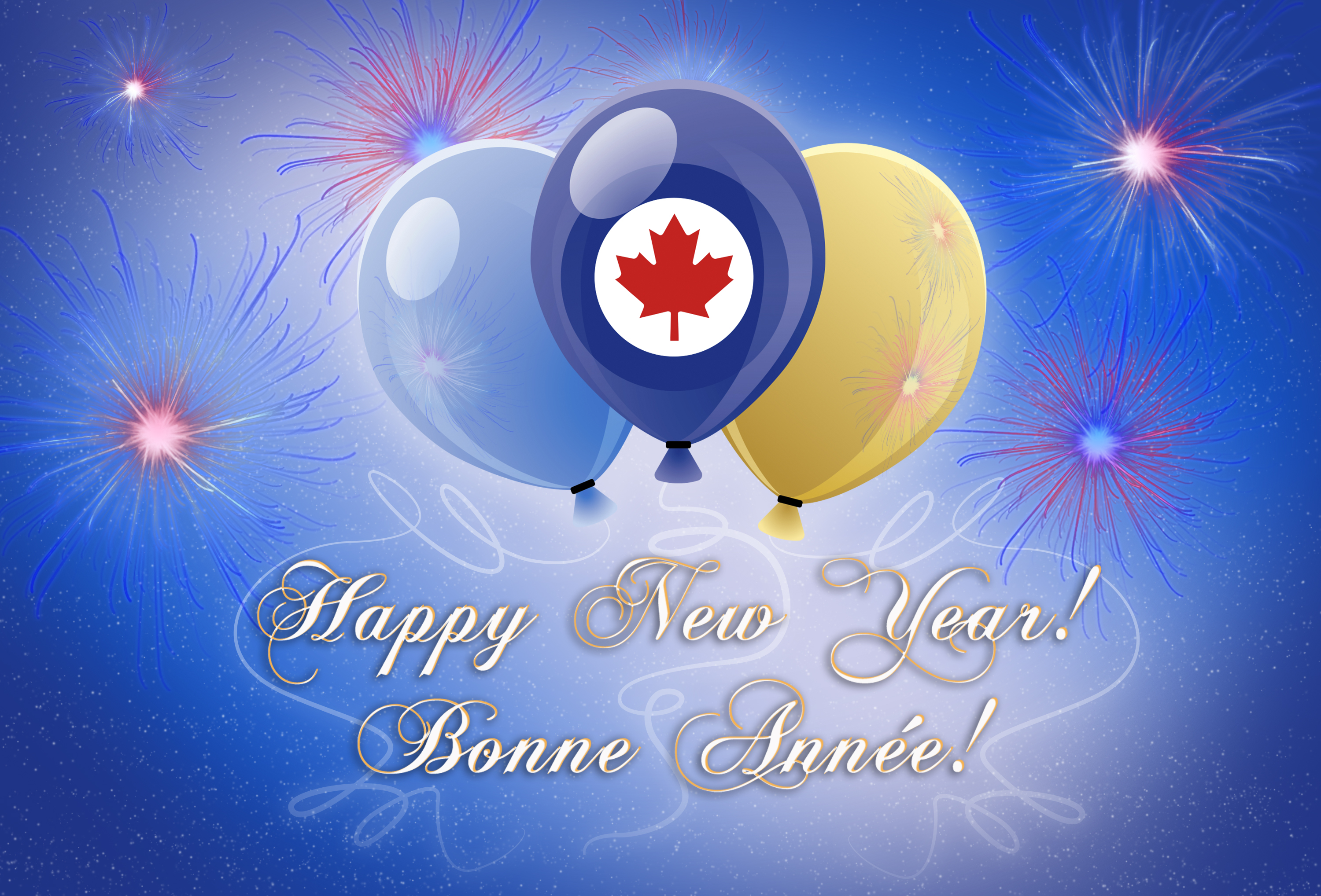 A graphic image portraying fireworks, balloons and the RCAF roundel.