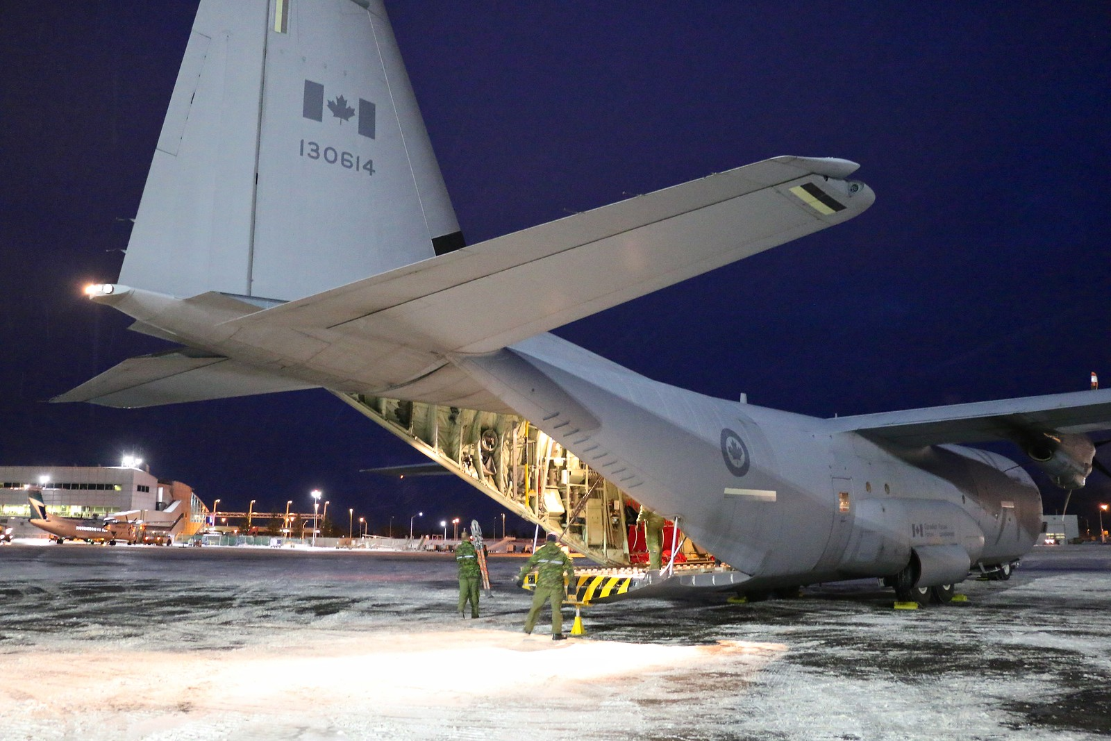 After dropping off toys in Happy Valley-Goose Bay, the CC-130J Hercules from 8 Wing Trenton, Ontario, then travelled to Thunder Bay, Ontario, to deliver more toys for distribution by local RCMP to children in remote communities. PHOTO: Makala Chapman