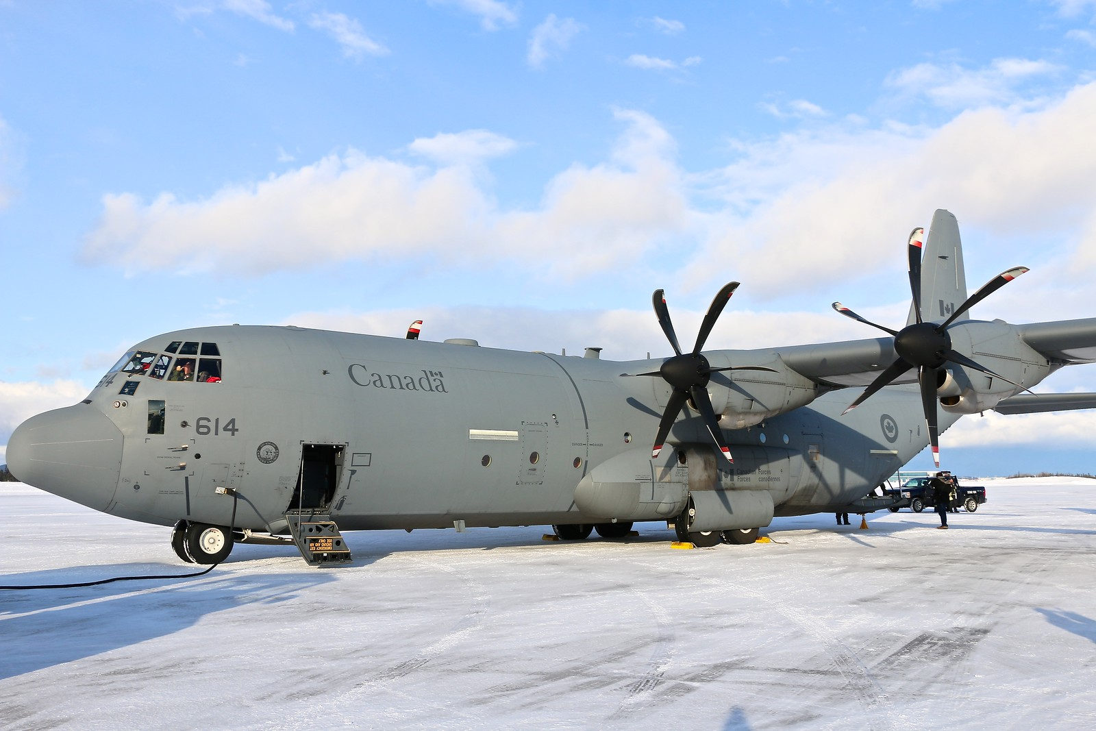 A CC-130J Hercules transporting pallets of toys, rests on the tarmac at Goose Bay, Newfoundland and Labrador, on December 7, 2017. PHOTO: Makala Chapman