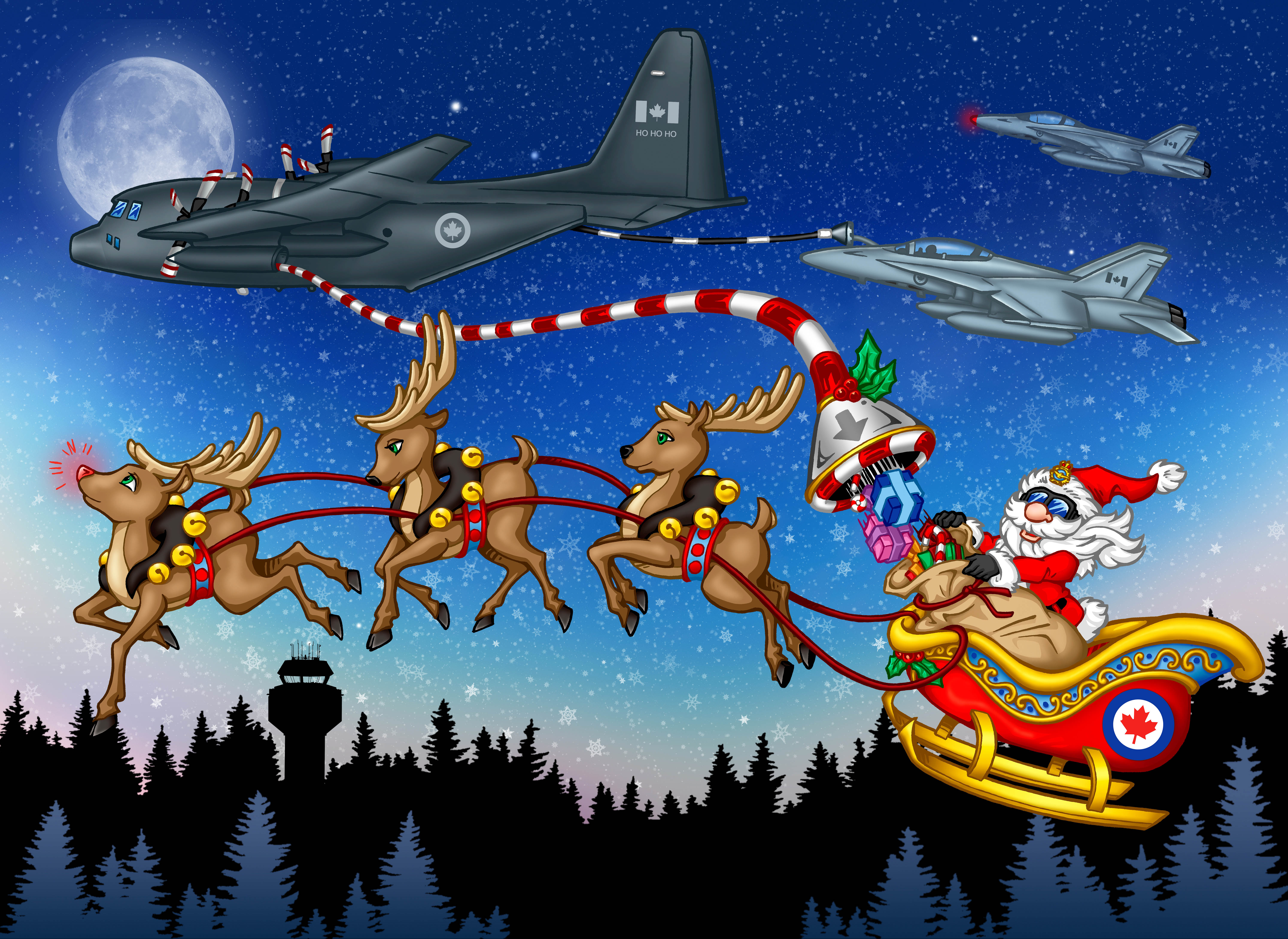 A colourful illustration of Santa in his sleigh with three reindeer flying through the sky with three military aircraft.