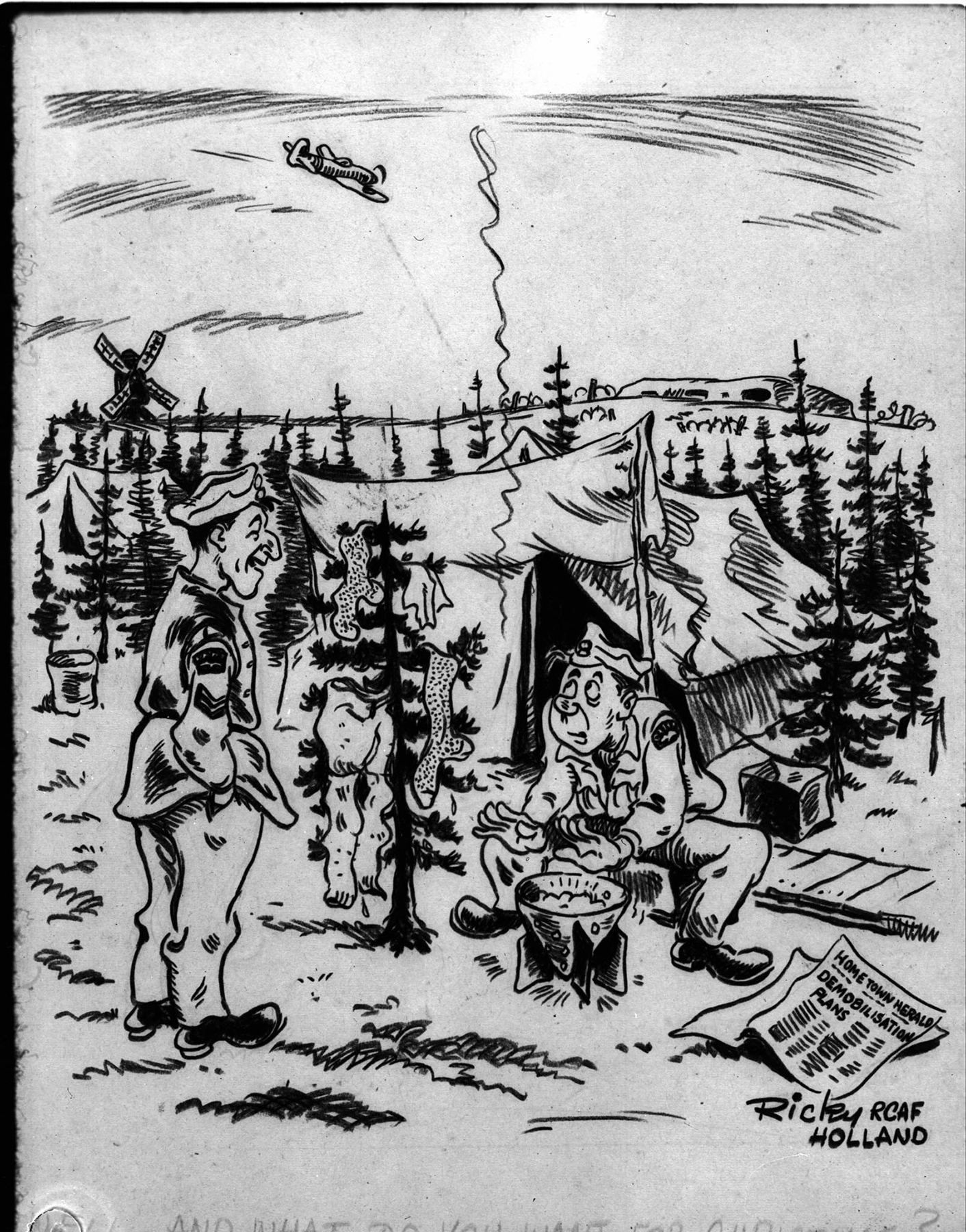"Second World War cartoon, drawn by ""Ricky RCAF Holland"": ""Well, and what do YOU want for Christmas?"" The front page of the newspaper reads ""Home Town Herald""; ""Demobilisation Plans"". PHOTO: DND Archives, PL-33633"