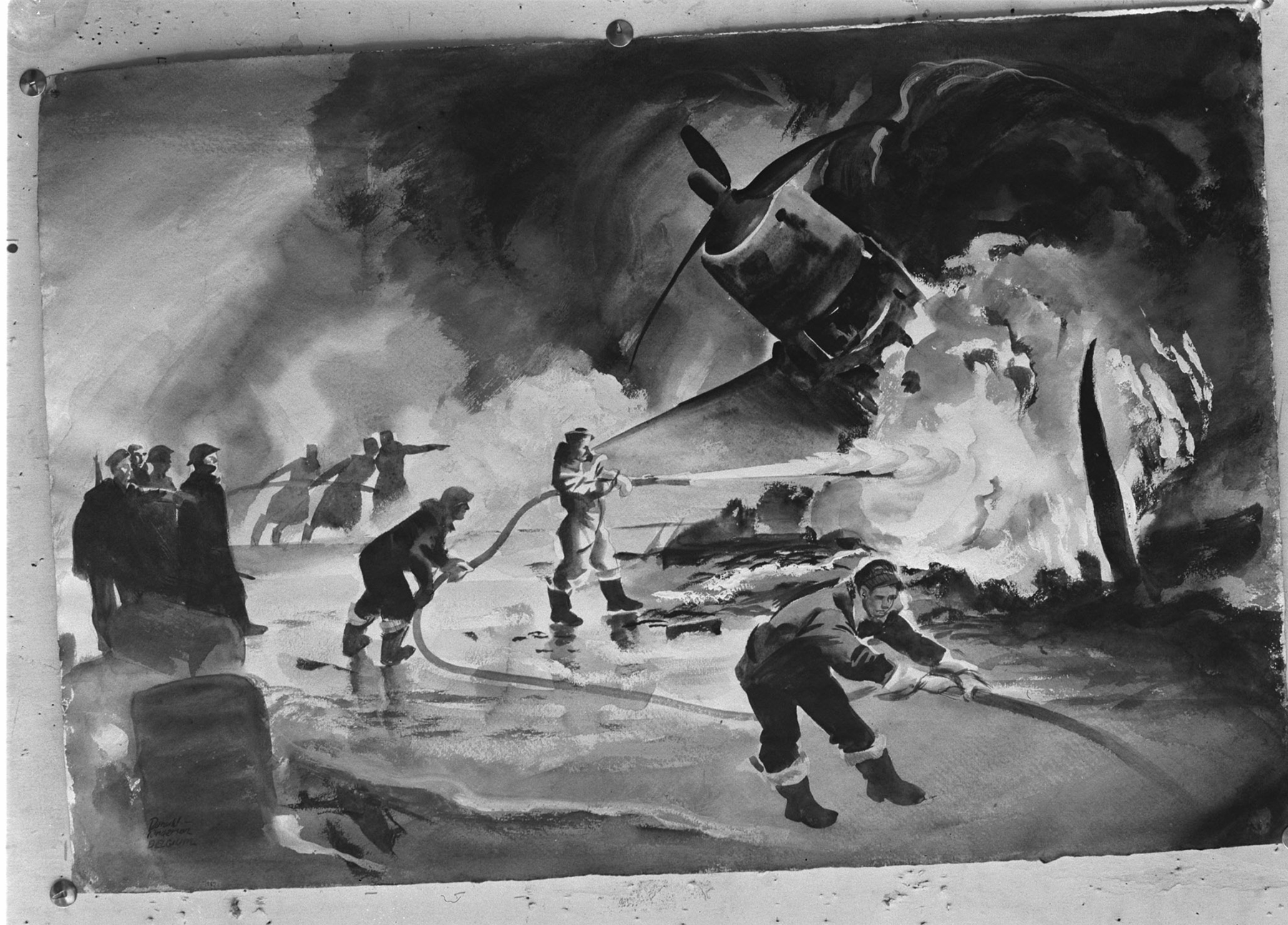 The RCAF's Flying Officer Donald Anderson dipped a watery brush into ink on New Year's morning 1945 and immortalized groundcrew fighting the fire of a crashed aircraft at No. 1 airfield in Belgium. IMAGE: DND Archives, PL-47041