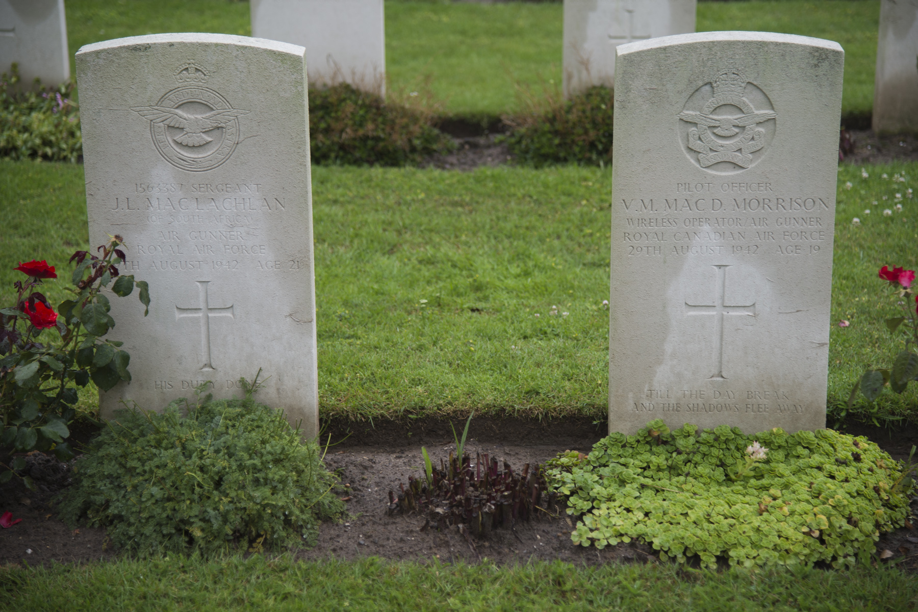 Side by side forever. The grave markers of Sergeant John MacLachlan, a member of the Royal Air Force from South Africa, and Pilot Officer Vincent Merrill MacDonald Morrison, a member of the Royal Canadian Air Force, at Rheinberg Commonwealth War Graves Cemetery in Germany. They were two of four aircrew who died on August 29, 1942, when their RAF Halifax bomber was shot down. The remains of a third deceased crew member, Flight Sergeant John Joseph Carey, were recovered and laid to rest with military honours on July 9, 2014.  PHOTO: Corporal Pamela Turney, GN2014-0384-001