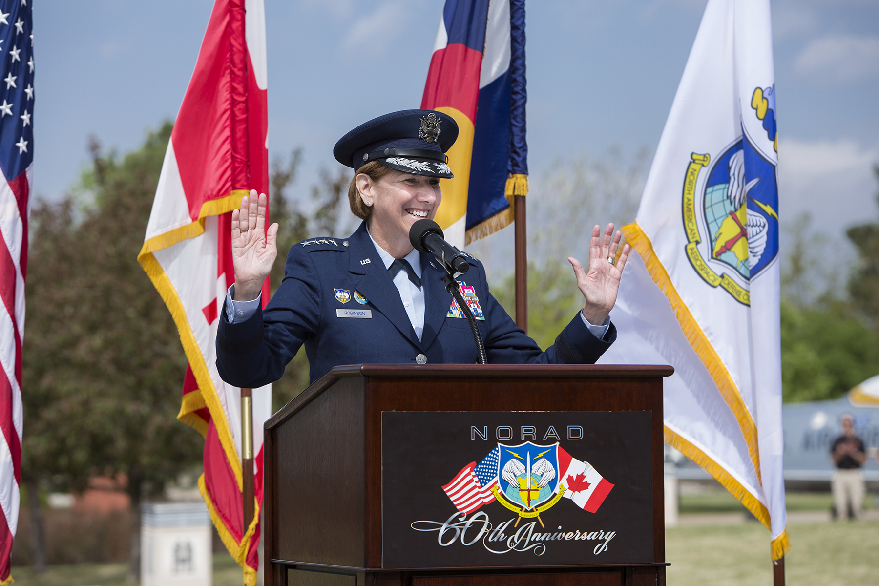 U.S. Air Force General Lori Robinson, Commander of the North American Aerospace Defense Command and U.S. Northern Command, speaks during the NORAD 60th anniversary ceremony at Peterson Air Force Base, Colorado, on May 12, 2018. PHOTO: U.S. DoD, Lewis Carlyle