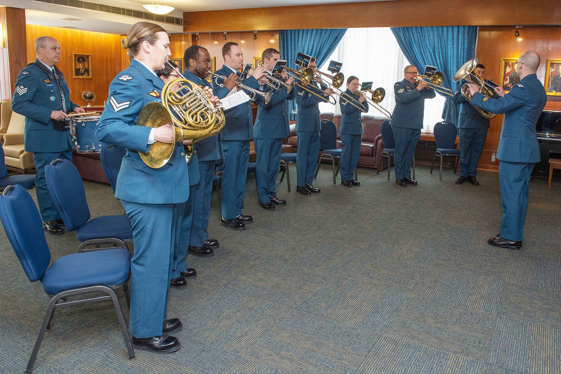 The RCAF Band brass section performs at 17 Wing Winnipeg, Manitoba, on March 21, 2018, during the Honorary Colonel change of appointment ceremony. PHOTO: Corporal Darryl Hepner, WG2018-0120-004