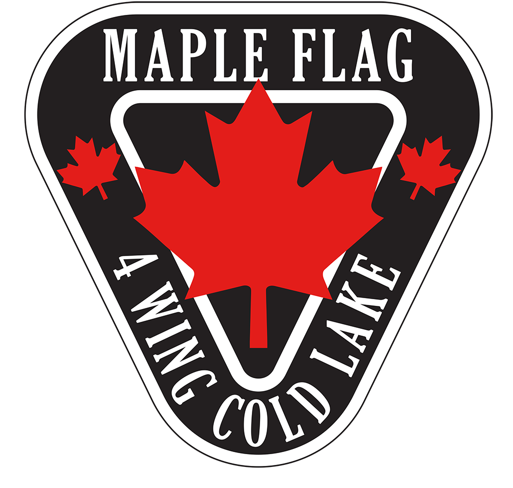 A graphic of a black and white inverted triangle with a red maple leaf in the centre
