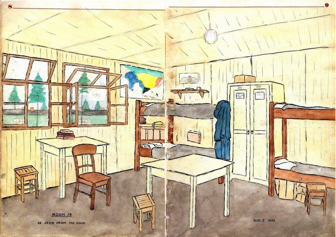 """Room 14 from Art's Bed."" August 9, 1943, at Stalag Luft III, from the diary of Flight Lieutenant John Colwell. IMAGE: Colwell Diary, courtesy Comox Air Force Museum"