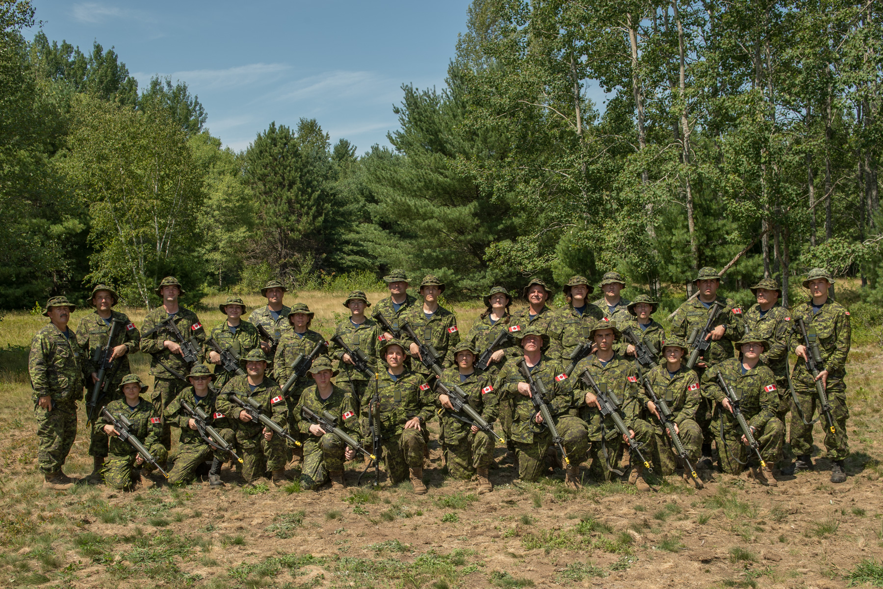 A group photo during the Royal Canadian Air Force Reserve Basic Military Qualification Course 0283.
