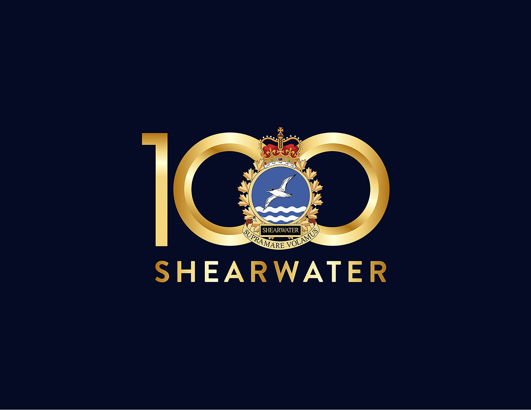 "A very dark blue logo with a gold and blue military crest over the number ""100"" written in gold characters. Under the crest is the word ""SHEARWATER"", also printed in gold characters."
