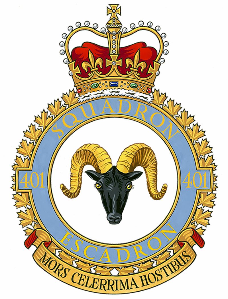 "401 Tactical Fighter Squadron's badge portrays a mountain sheep. The squadron's motto, Mors celerrima hostibus"" promises a ""very swift death for the enemy"". IMAGE: DND"