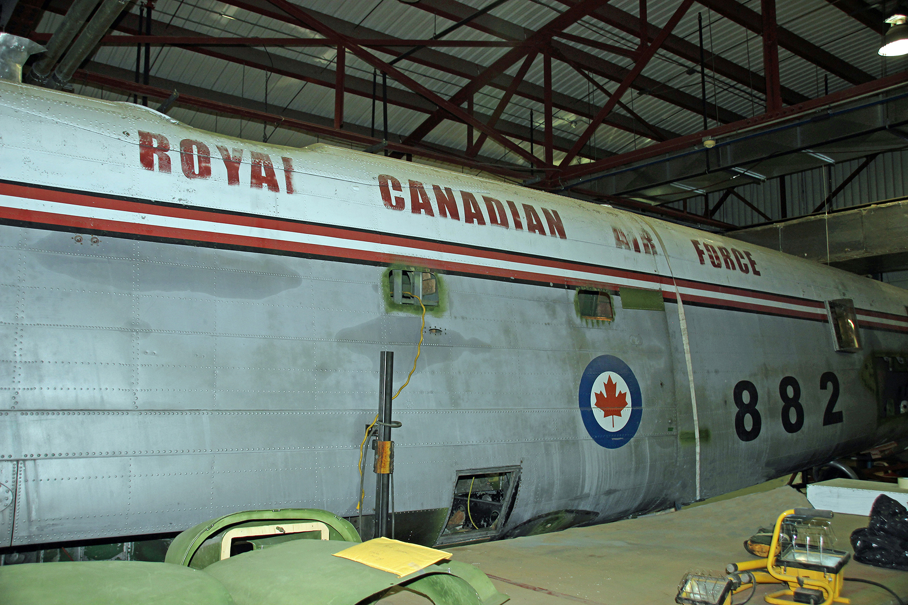 The fuselage of Lancaster KB882, which came to the National Air Force Museum of Canada in September 2017 from Edmundston, New Brunswick, is currently undergoing restoration at the museum. PHOTO: Catherine Stutt