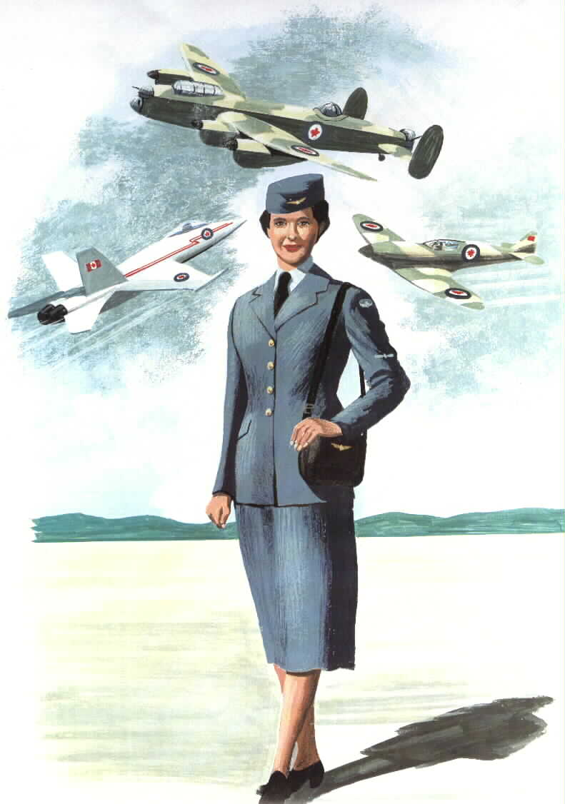 Artwork portraying a woman dressed in a vintage RCAF uniform with airplanes in the background.