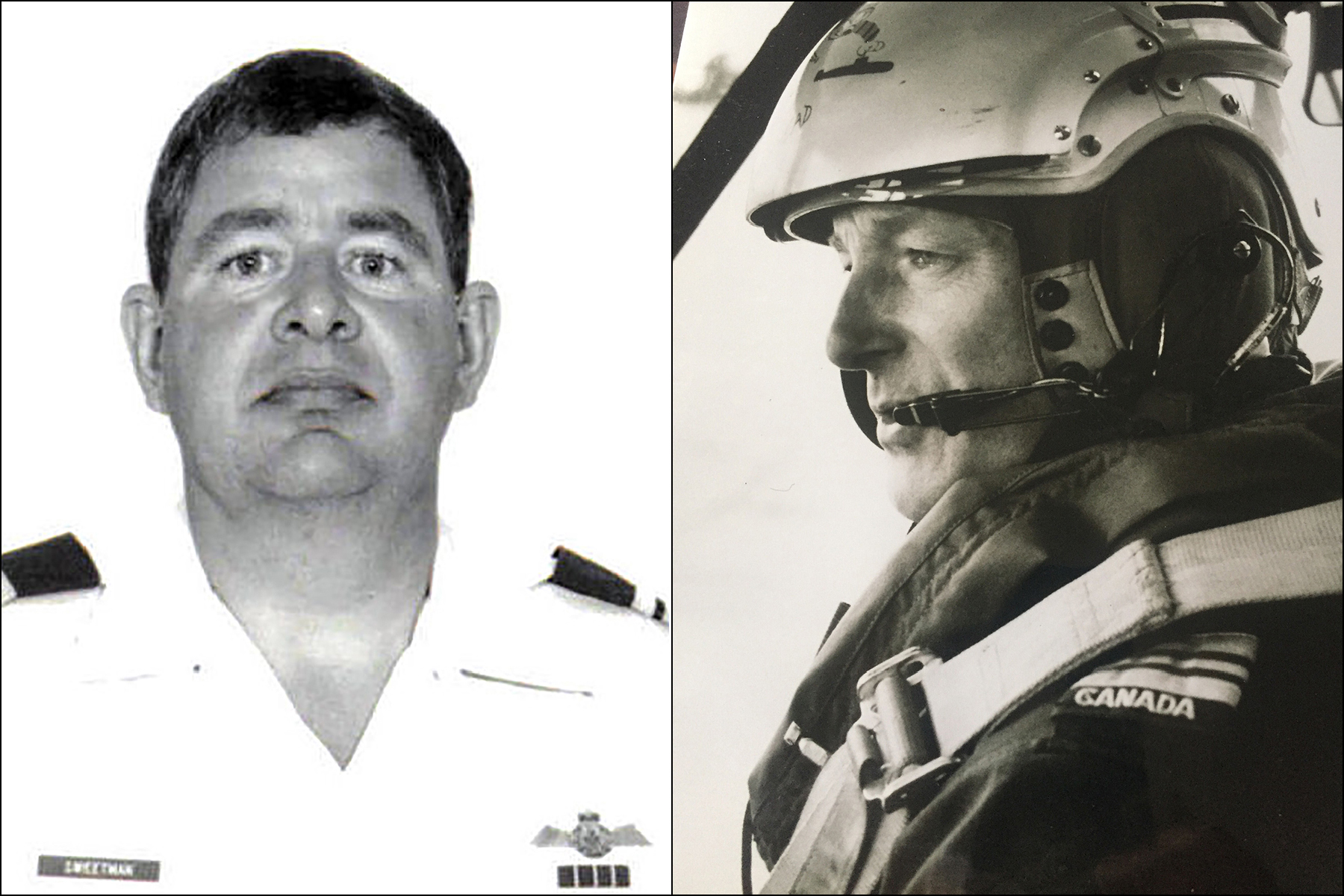 On the left, a black and white head-and-shoulders photograph of a man wearing a white uniform with dark epaulets; on the right, a sepia-toned profile photo of a man wearing a dark flight suit and a white helmet with a communications package.