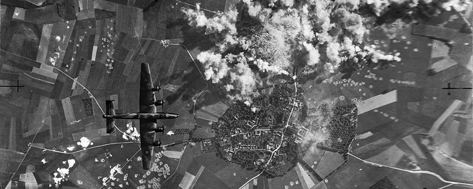 "Smoke rises from the French countryside after Halifax bombers from No. 6 (RCAF) Bomber Group struck German ""flying bomb"" installations."