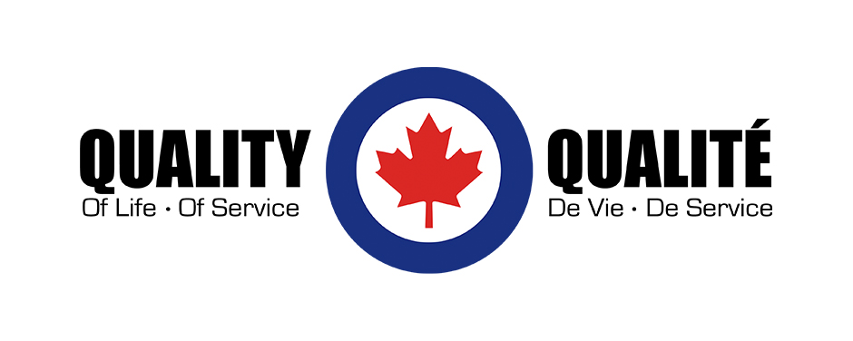 "A graphic with the words ""Quality of Life—Quality of Service"" and ""Qualité de vie—Qualité de service"" on either side of an RCAF roundel."