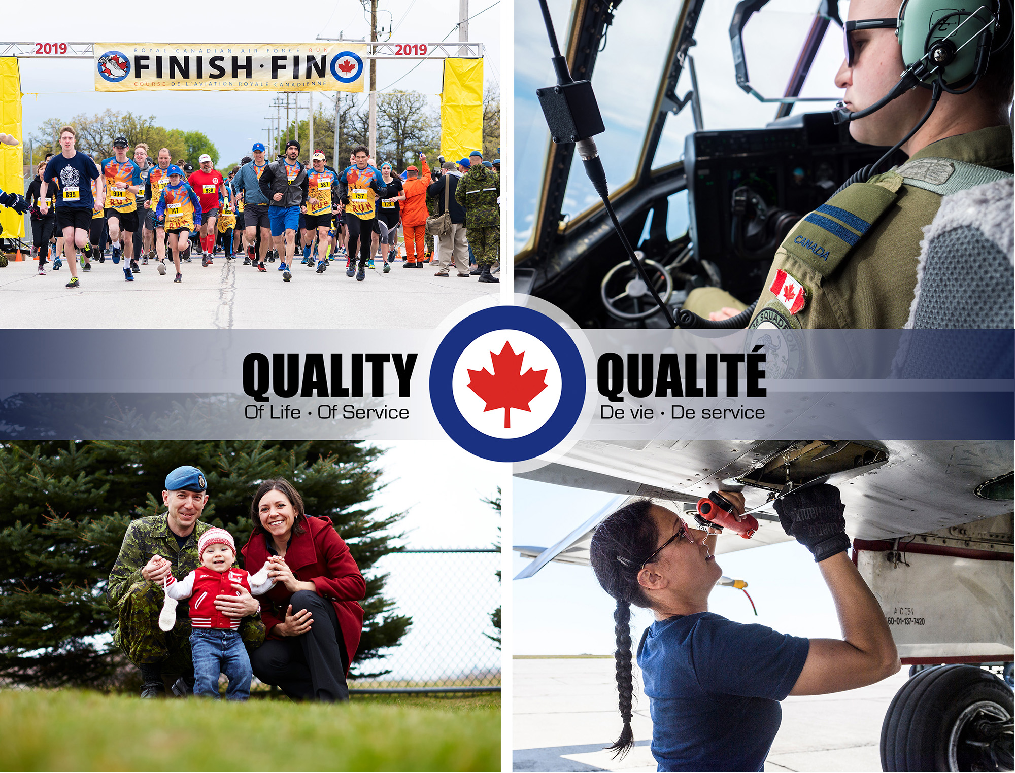 "A montage of four images, portraying RCAF personnel and family members, with an RCAF roundel and the words ""Quality of Life—Quality of Service"" and ""Qualité de la vie—Qualité du service"" superimposed on the centre of the montage."