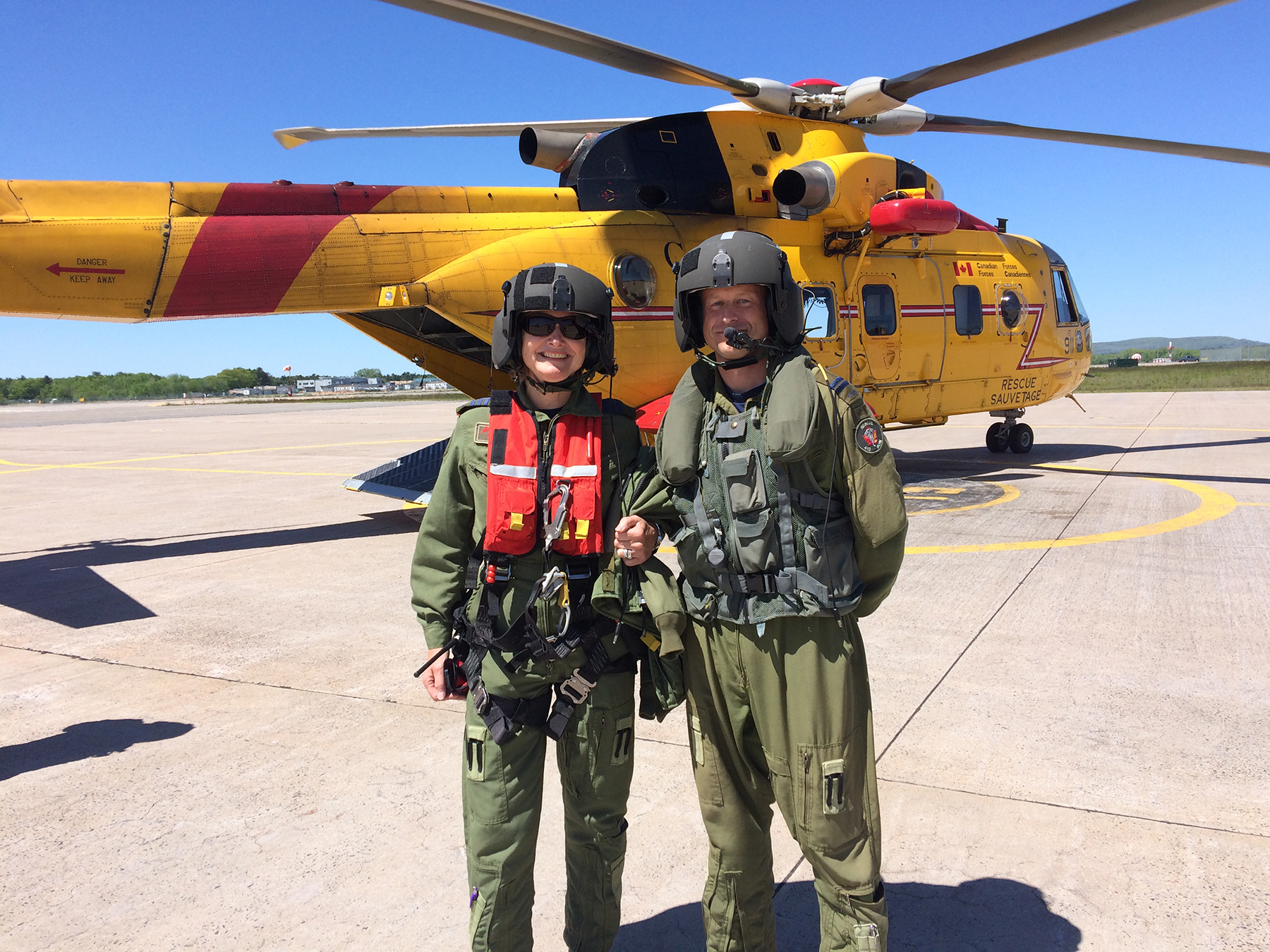 On June 12, 2019, Mayor of Kentville and Honorary Colonel of 14 Wing Greenwood's 415 (Long Range Patrol Force Development) Squadron Sandra Snow, and 413 (Transport and Rescue) Squadron Captain Steve MacDonald, are set to board a 413 Squadron CH-149 Cormorant. PHOTO: Sara White
