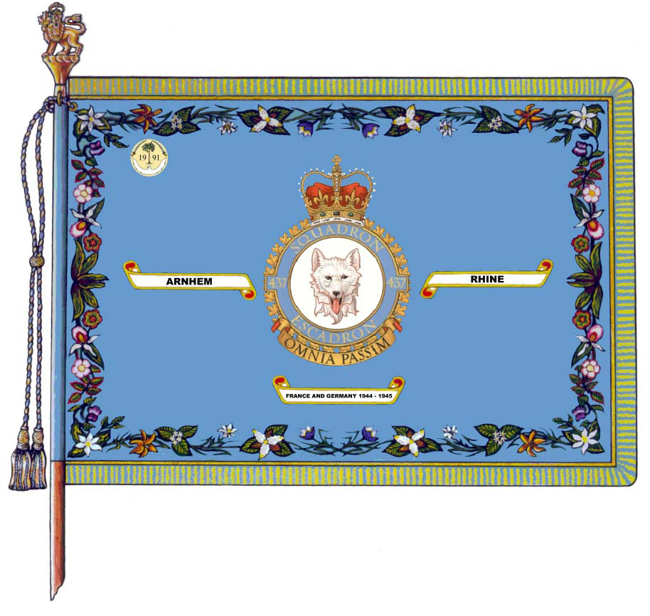 "437 Transport Squadron's Colour (standard) bears the Battle Honours FRANCE AND GERMANY, 1944-1945; Arnhem; and Rhine as well as the Gulf War Honorary Distinction for having ""significantly reinforced the Canadian tactical fighter force that fought in the United Nations' action against Iraq"". IMAGE: DND"