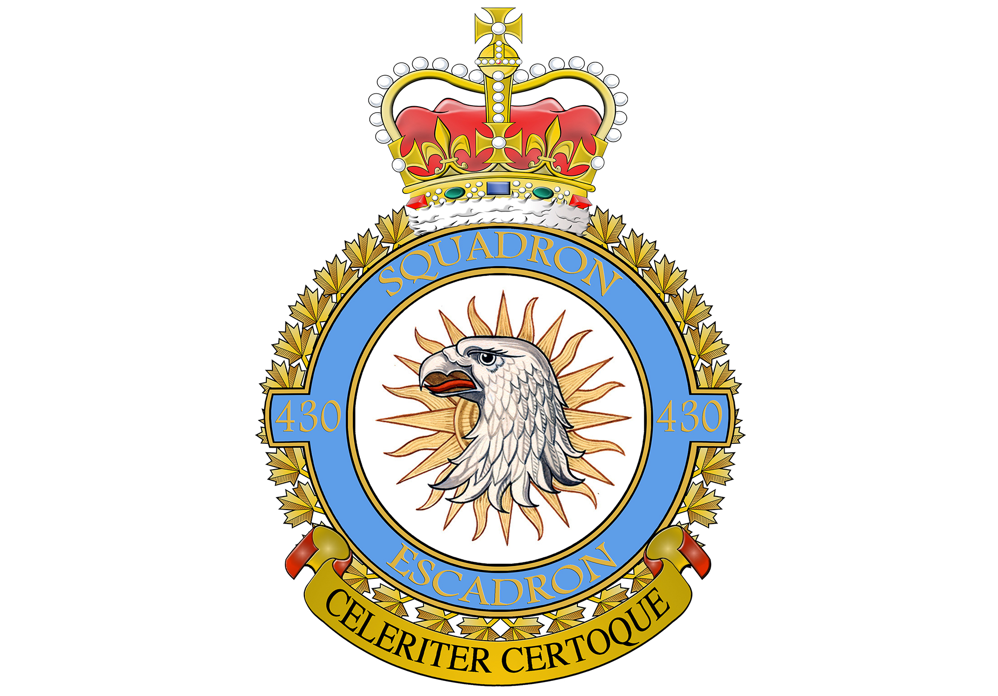 "430 Squadron's badge portrays a gyrfalcon in front of the sun. The squadron's motto is ""Celeriter certoque""—""swiftly and surely"". IMAGE: DND"