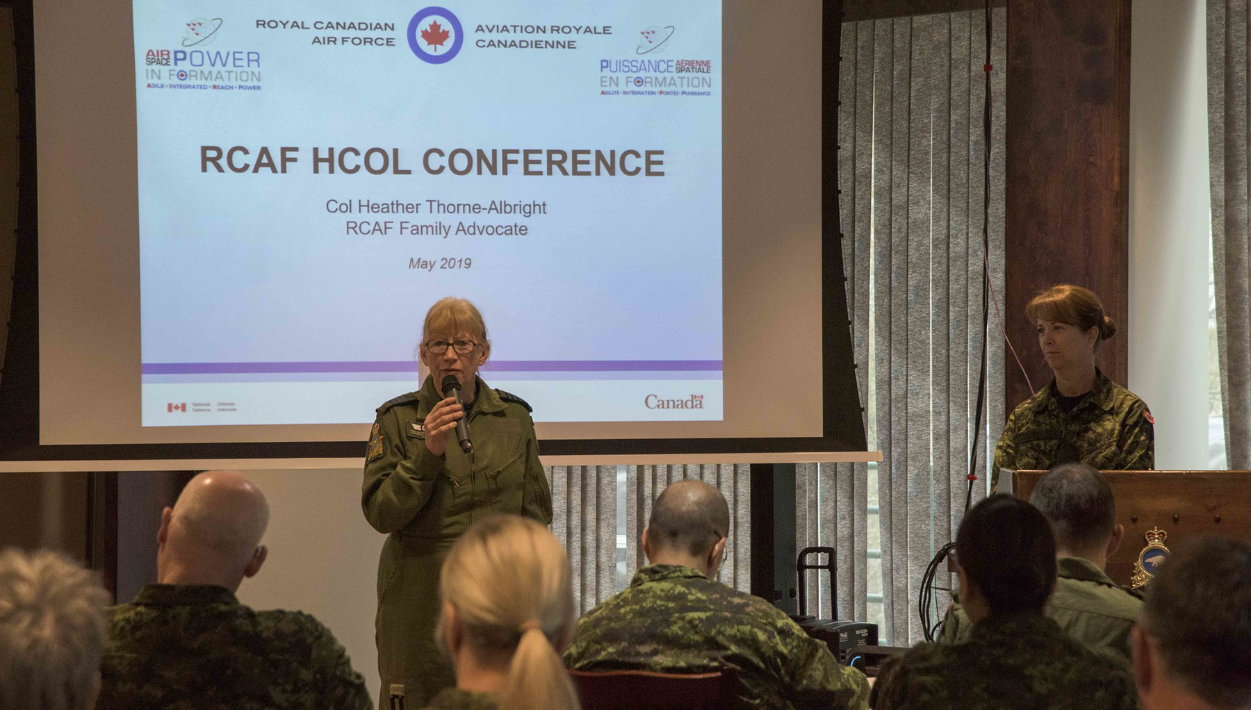 RCAF Honorary Colonel Loreena McKennitt addresses attendees of the honorary colonels conference hosted by Joint Task Force (North)  on May 29, 2019, in Yellowknife, Northwest Territories. PHOTO: Captain Soomin Kim