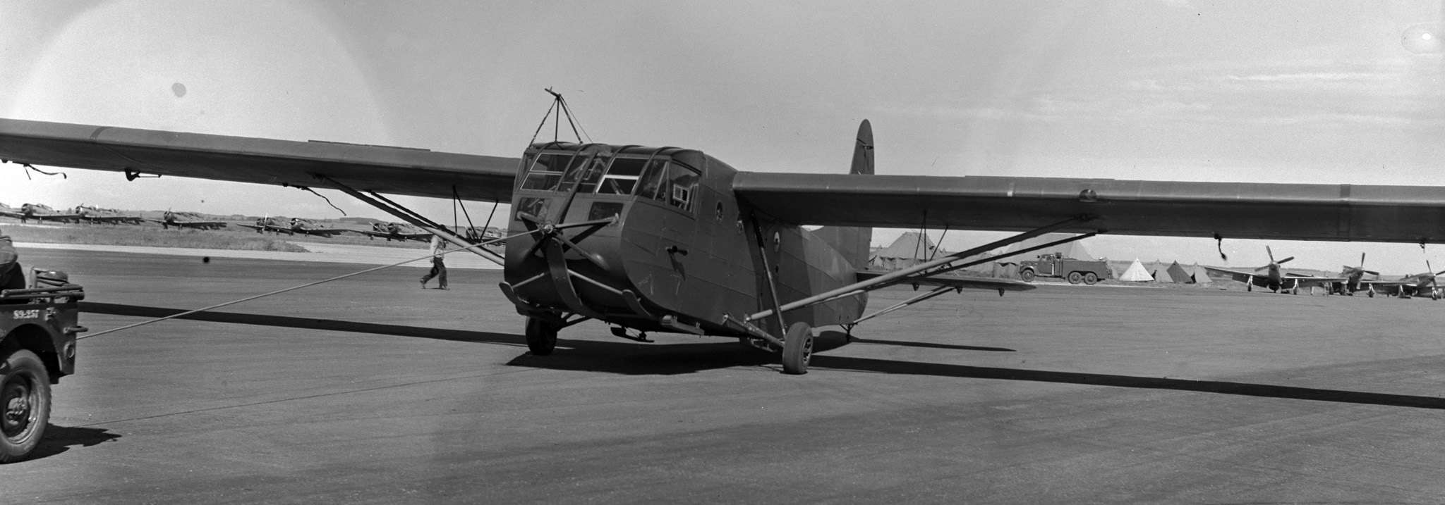 A Horsa glider is towed to a new location. PHOTO: DND Archives, PL-58622