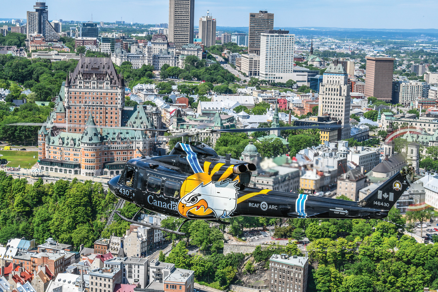 The 430 Squadron anniversary bird soars over Quebec City. PHOTO: © Mike Reyno, RCAF Today