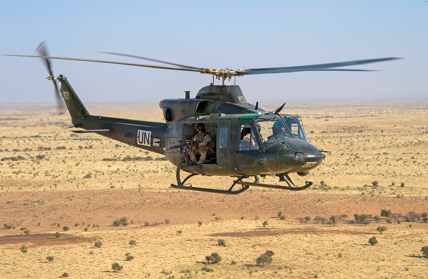 A 430 Squadron Griffon participates in an escort mission during Operation Presence in Mali. PHOTO: Corporal François Charest, TM02-2019-0018-0057