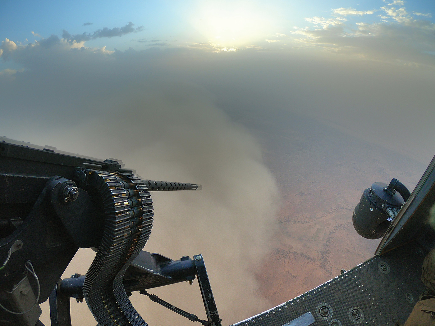 A CH-146 Griffon helicopter flies past a haboob (sandstorm) heading towards Gao, Mali. PHOTO: Corporal François Charest, TM02-2019-0053-0002