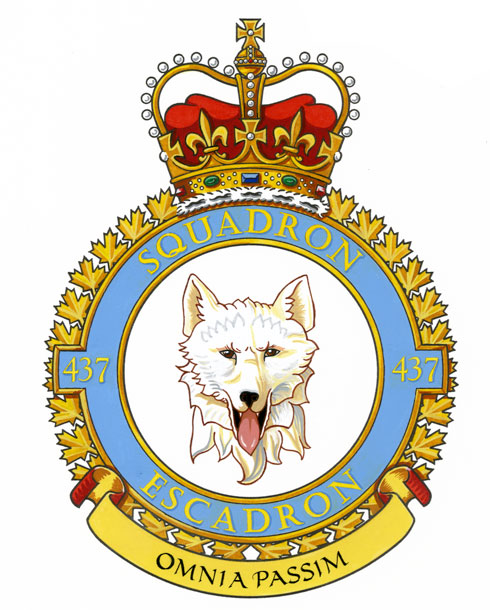 "437 Transport Squadron's badge portrays the head of a husky dog. Its motto is ""Omnia Passim""—""Anything, Anywhere"". The squadron is currently located at 8 Wing Trenton, and flies the CC-150 Polaris transport aircraft—fulfilling the same role it carried out during the Second World War. IMAGE: DND"