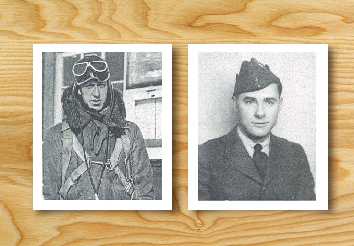 "A montage of two head-and-shoulders photos of men, one wearing military flying clothes and the other wearing a jacket, tie, and ""wedge cap""."