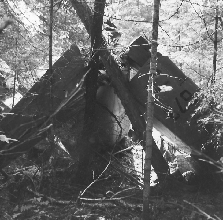 This photo of 673 shows the compact grouping of wreckage, suggesting a near vertical impact with minimal damage to the tree canopy. PHOTO: Courtesy of Pat Donaghy, RCAF retired