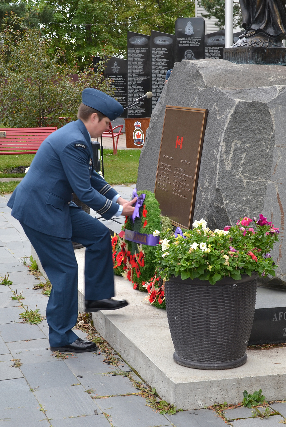 A member of the Royal Canadian Air Force lays a wreath at the cenotaph in the Gander Heritage Memorial Park in Gander, Newfoundland and Labrador, to mark the 79th anniversary of the Battle of Britain. PHOTO: 9 Wing Gander
