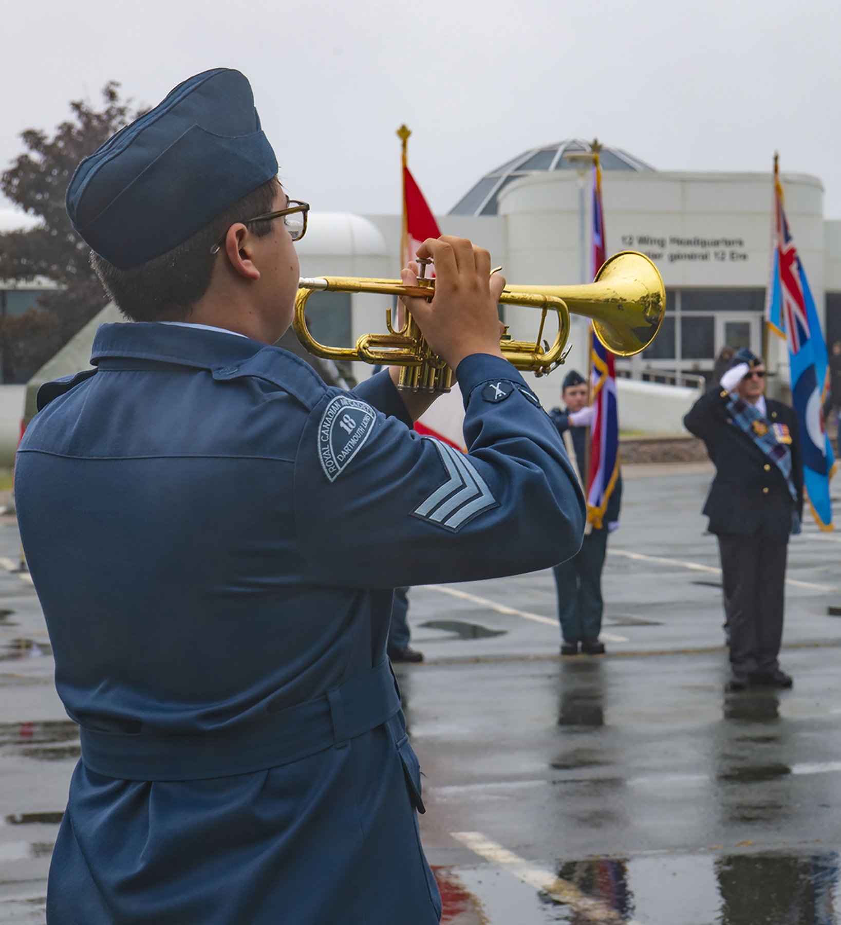 A Royal Canadian Air Cadet plays the bugle during the Battle of Britain Ceremony at 12 Wing Shearwater, Nova Scotia, on September 15, 2019. PHOTO: Aviator Olivia Mainville, SW14-2019-0403-003