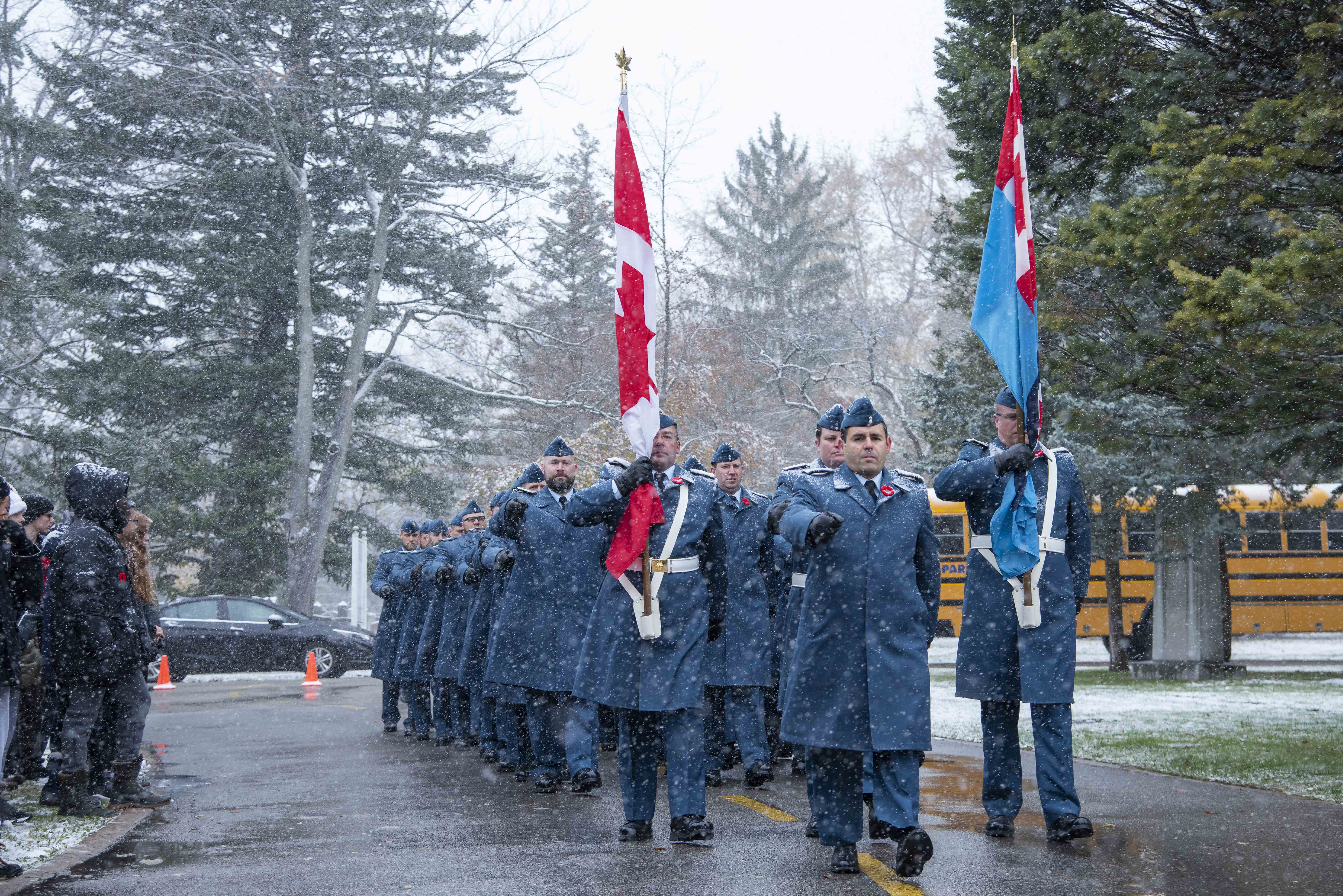 Members of the Royal Canadian Air Force march towards the location of the 2019 Remembrance Day ceremony held at Mount Pleasant Cemetery in Toronto. PHOTO: Corporal Lynette Ai Dang, BM10-2019-0359-007