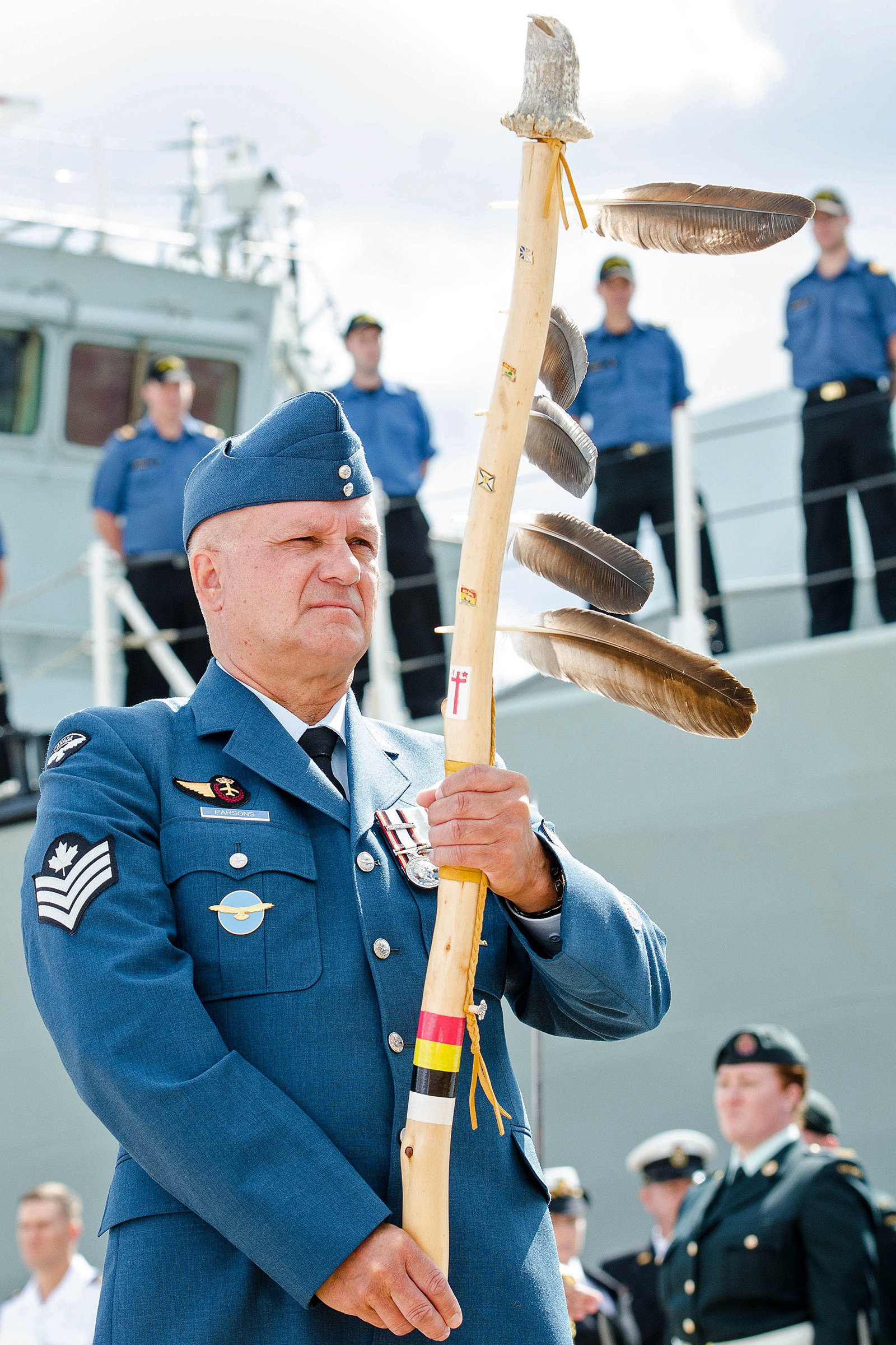 Sergeant Parsons carries an Eagle Staff during the change of command ceremony for the commander of the Canadian Fleet Atlantic in Halifax in 2017. PHOTO: Mona Ghiz
