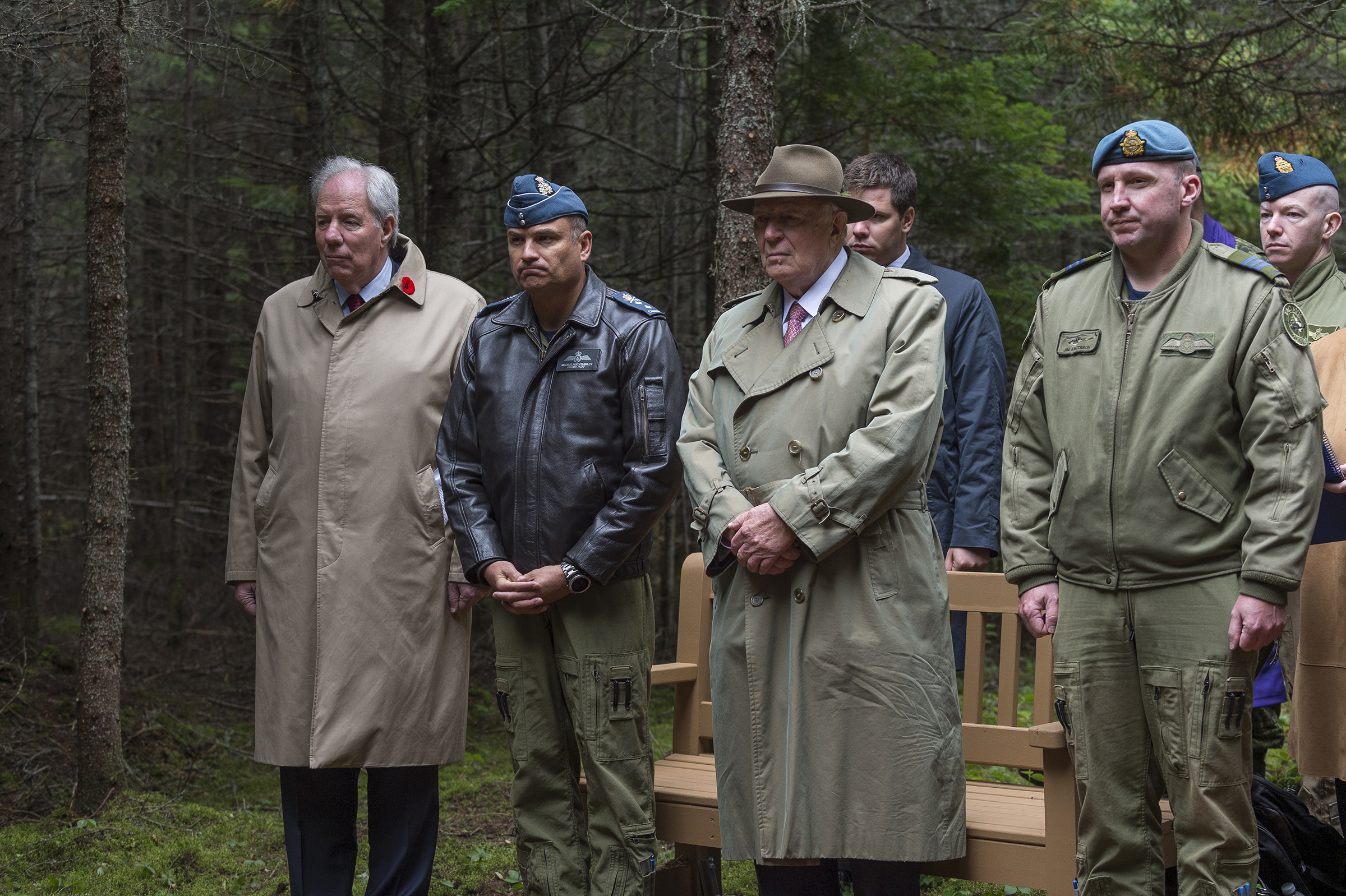 From left, Mr. Jim Irving of J.D Irving, Limited, Major-General Blaise Frawley, deputy commander of the RCAF, Mr. J.K. Irving of J.D Irving, Limited, Lieutenant-Colonel James Knutsson, commanding officer 403 Tactical Helicopter Squadron, and other guests attend the unveiling of a memorial commemorating Warrant Officer Class 2 James Edward Doan and Corporal David Alexander Rennie who were the first members of the RCAF to die on Canadian soil during the Second World War. PHOTO: Corporal Nicolas Alonso, GN02-2019-0949-009