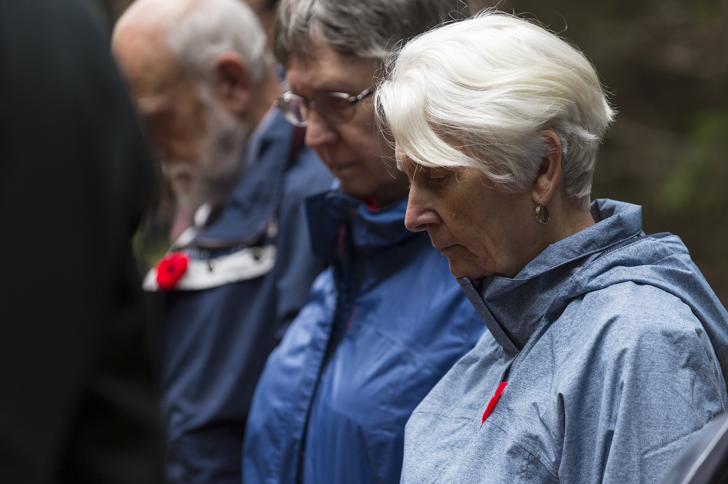 On September 14, 2019, (from right) siblings Shirley Routliffe, Lynda Diepold, and Walter Bateson attend the ceremony marking the 80th anniversary of the Northrop Delta 673 crash that claimed the lives of Warrant Officer Class 2 James Edward Doan and their uncle, Corporal David Alexander Rennie, on September 14, 1939. PHOTO: Corporal Nicolas Alonso, GN02-2019-0949-011