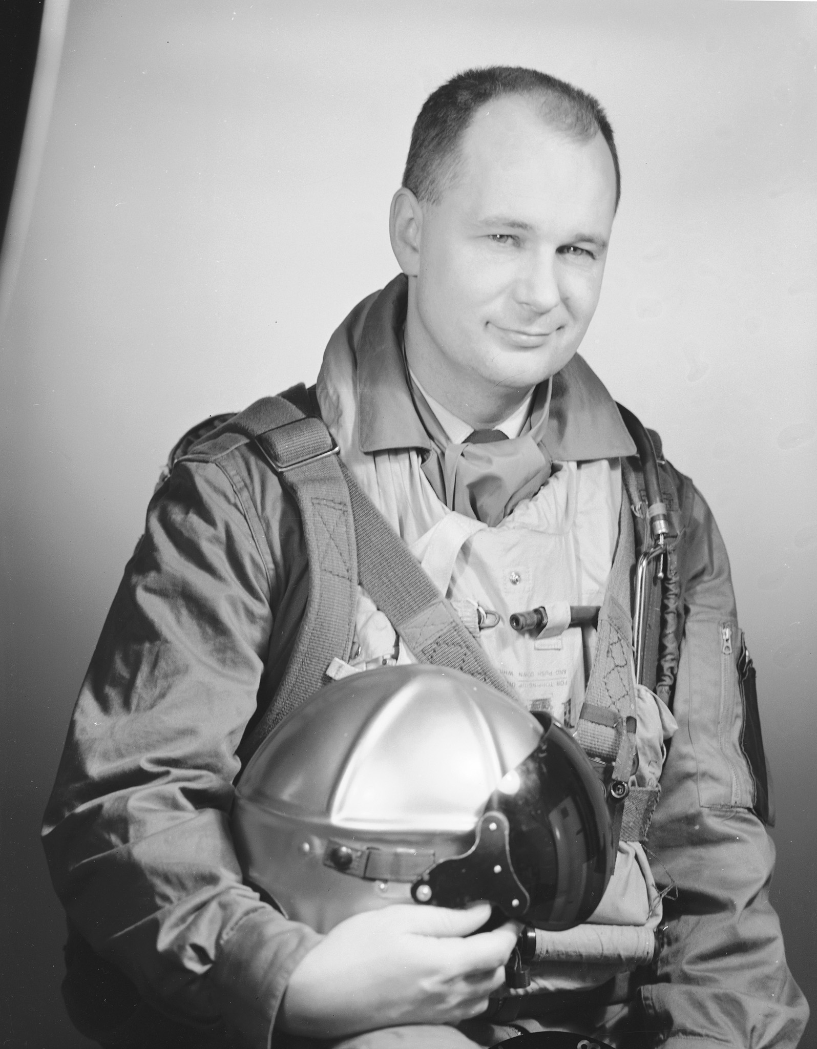 The leader of the Golden Hawks Aerobatic Team, Squadron Leader Fern G. Villeneuve, circa 1958. PHOTO: DND Archives, PL 64137