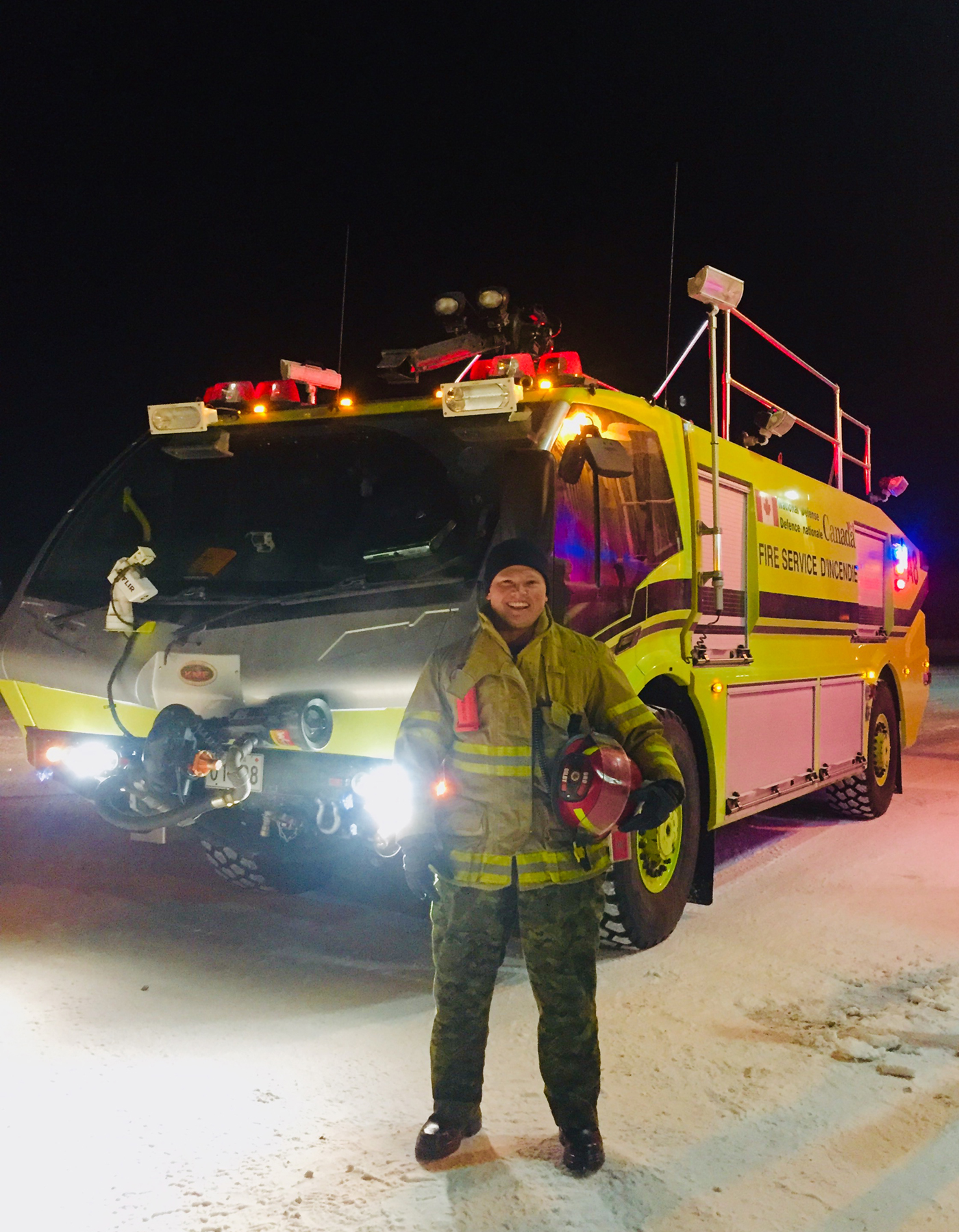 On January 30, 2019, Lieutenant Jenson Gilby stands with his rig at 12 Wing Shearwater, Nova Scotia. PHOTO: Courtesy of Lieutenant Jenson Gilby
