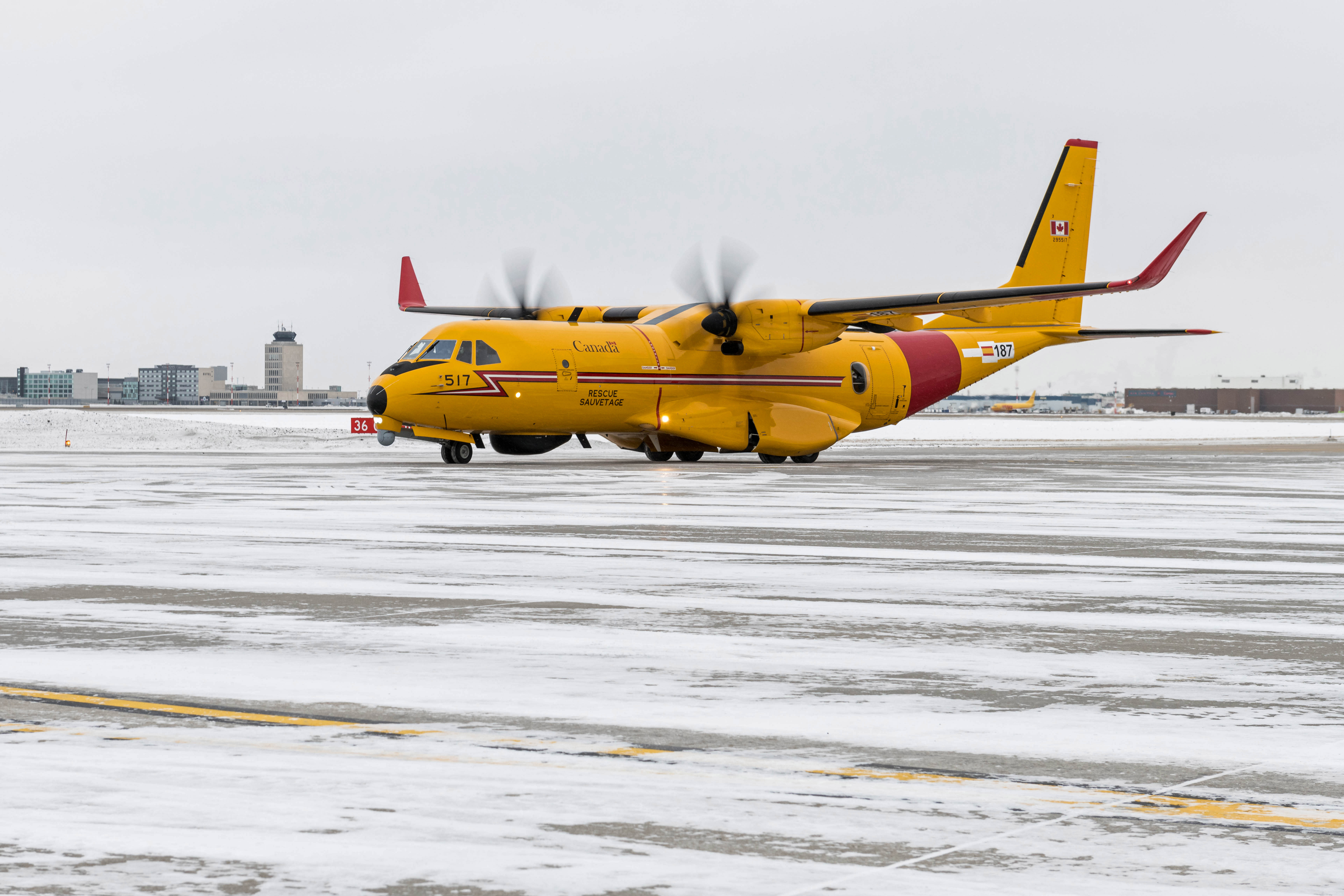 A training variant of the CC-295 Fixed Wing Search and Rescue aircraft arrives at 17 Wing Winnipeg, Manitoba during its cross-Canada itinerary on February 3, 2020. PHOTO: Sergeant Daren Kraus
