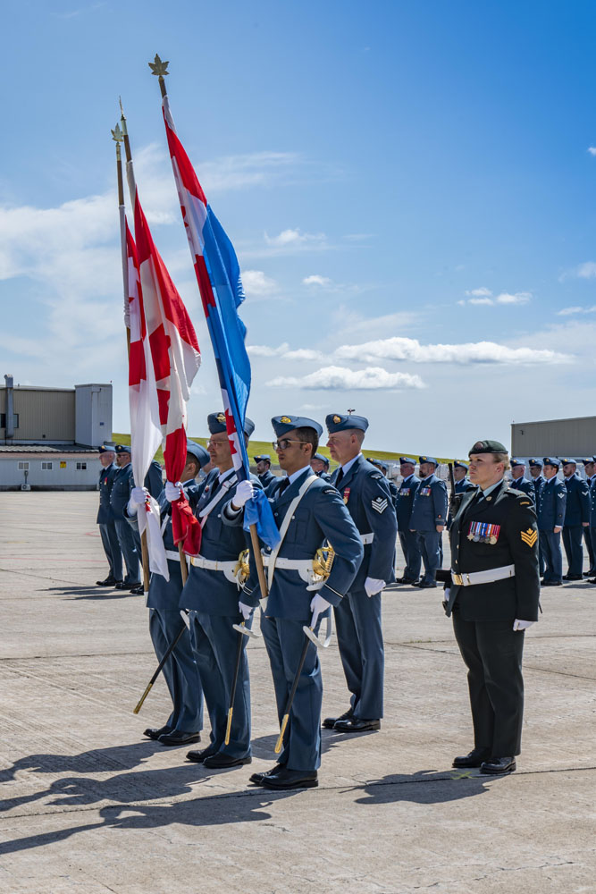 Warrant Officer Leaman as a member of the Colour Party at the Wing Change of Command Ceremony at 12 Wing Shearwater on July 18, 2019. PHOTO: Aviator Olivia Mainville