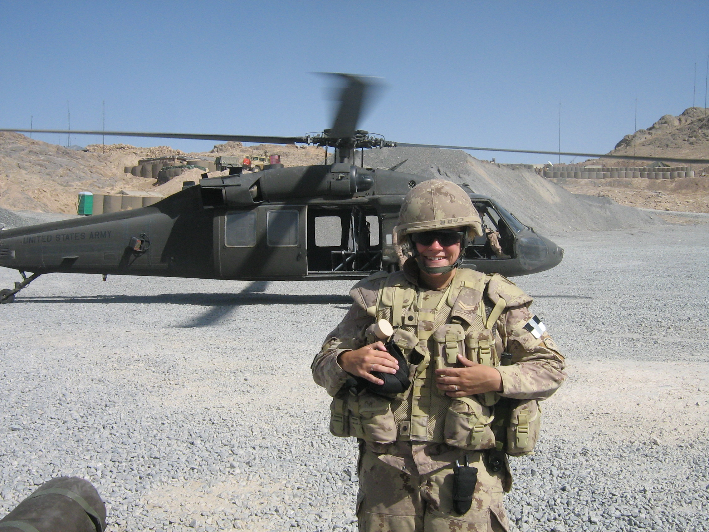 Warrant Officer Sandra Leaman in front of a United States Army Black Hawk helicopter during her deployment to Afghanistan in February 2007. PHOTO: Submitted