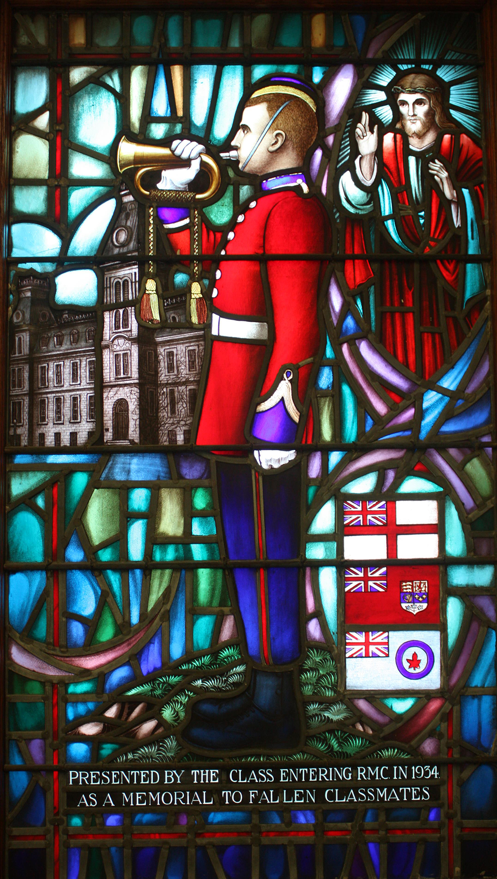 "A memorial stained glass window placed by the Class of 1934 in Yeo Hall Memorial Hall, outside the chapels at the Royal Military College of Canada in Kingston, Ontario, depicts an officer cadet bugler sounding ""Last Post"". The inscription reads: ""Presented by the class entering RMC in 1934 as a memorial to fallen classmates"". PHOTO: Courtesy of the Royal Military College Museum"