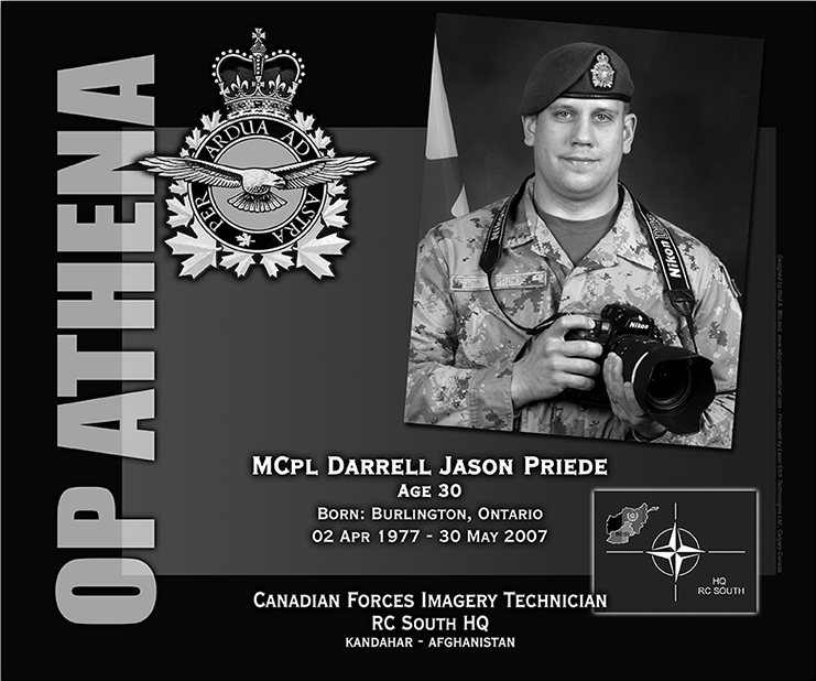 This was the laser engraved granite plaque designed to mark the unfortunate passing of Master Corporal Darrel Jason Priede. It was originally displayed at the Kandahar Cenotaph from the date of his passing and was repatriated to Canada in 2014. Today, it can be seen at the Afghanistan War Memorial located at National Defence Headquarters in Kanata, Ontario. PLAQUE: Rod A. McLeod, Designer