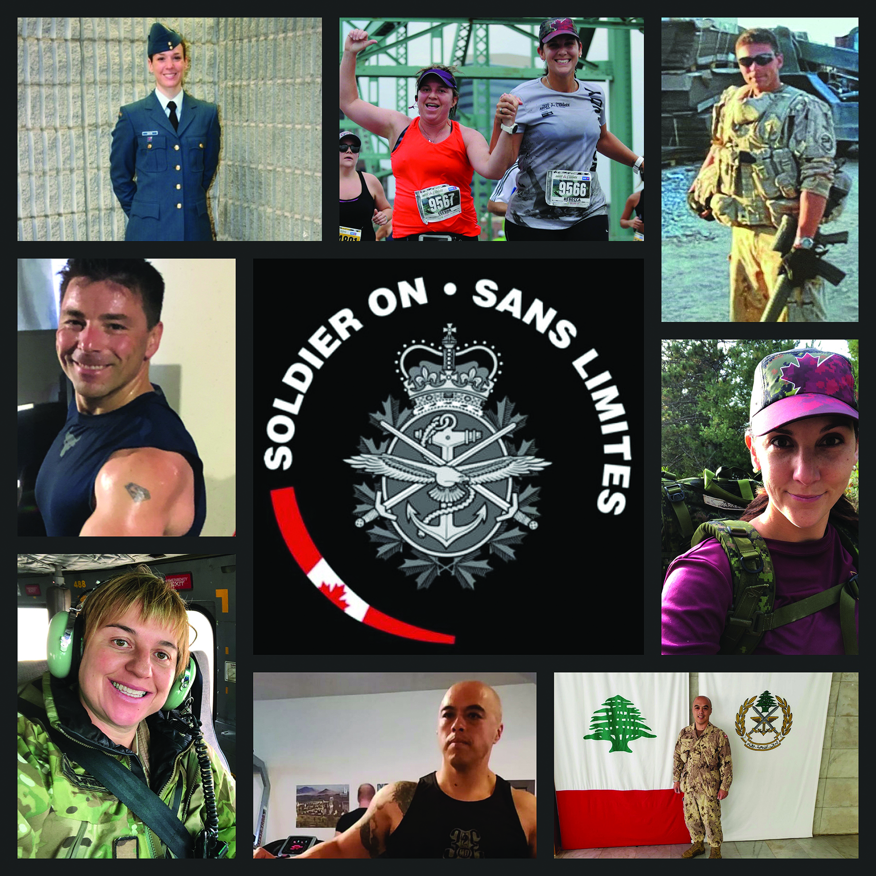 "A photo montage of six people wearing military, civilian and sporting clothes. In the middle of the montage is a military crest around which are the words ""SOLDIER ON"" and ""SANS LIMITES""."