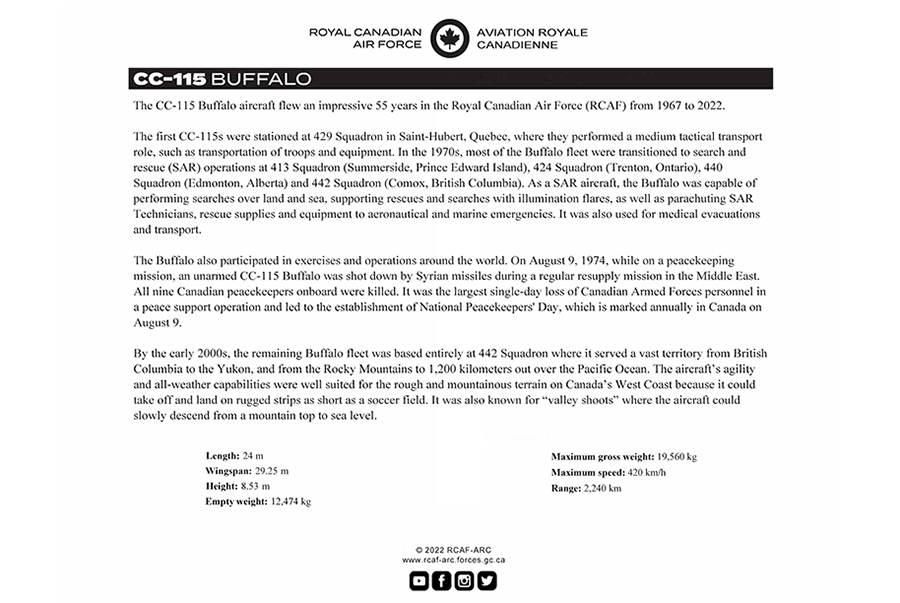 CC-115 Buffalo fact sheet details
