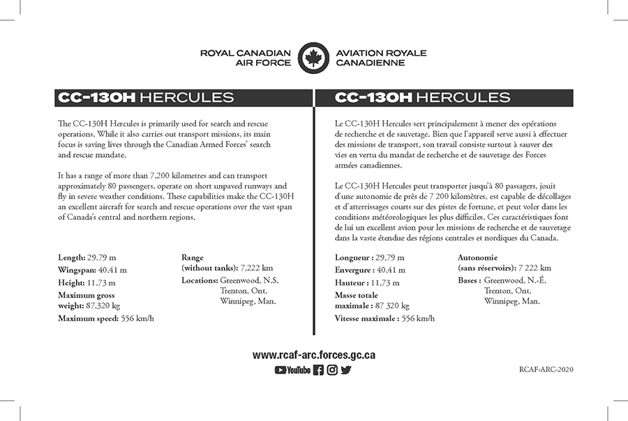 CC-130H Hercules fact sheet details